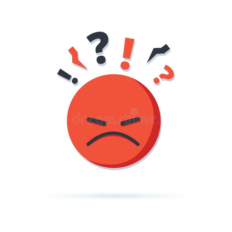 Pensamiento negativo, mala reacci?n de la experiencia, cliente infeliz, cliente dif?cil, calidad pobre del servicio, cara roja en ilustración del vector