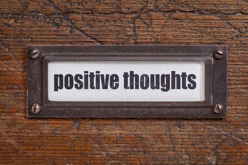 Pensamientos Positivos - Etiqueta Del Gabinete De Fichero Foto de ...