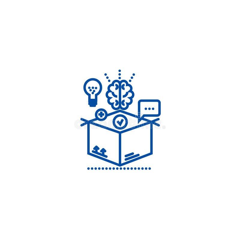 Pensando fora da caixa, linha conceito da gestão da ideia do ícone Pensando fora da caixa, símbolo liso do vetor da gestão da ide ilustração stock