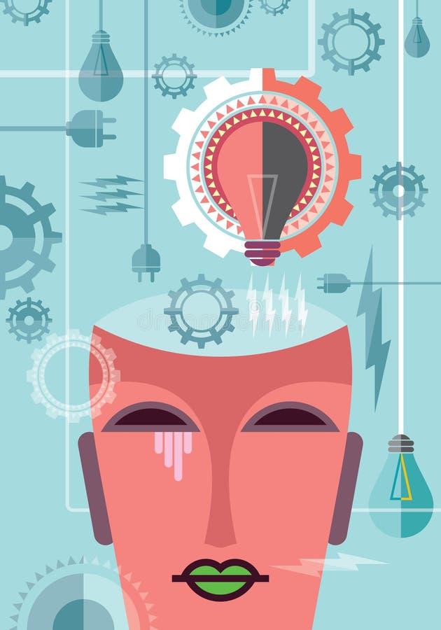 Pensant à la puissance, illustration avec la vitesse illustration de vecteur