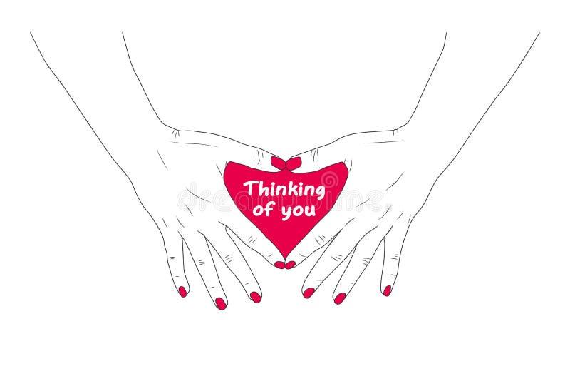 Pensare a te - Card Pep10 - Le mani femminili mostrano il cuore royalty illustrazione gratis