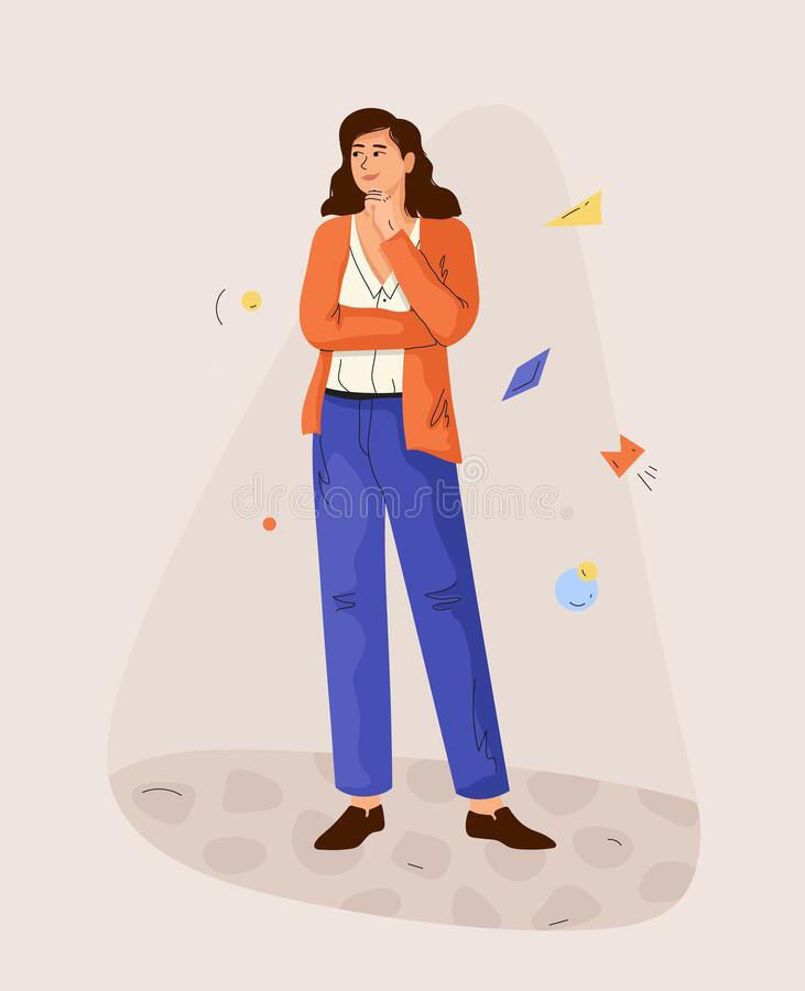 Pensare una ragazza in piena crescita Moderna illustrazione vettoriale illustrazione vettoriale