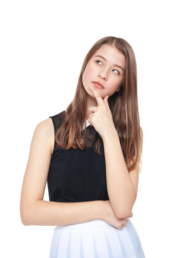 Pensativo novo da menina do adolescente da forma isolado imagens de stock