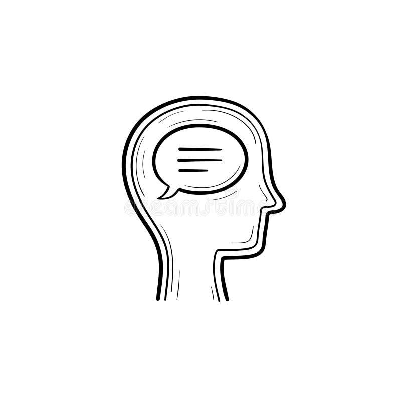 Pense a bolha no ícone tirado mão da garatuja do esboço da cabeça de seres humanos ilustração do vetor