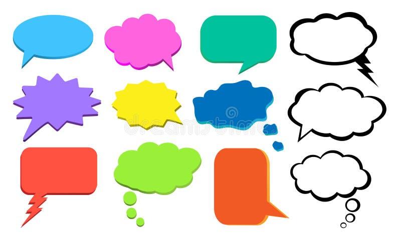 Pense a bolha, nuvem colorida dos pensamentos, grupo do vetor ilustração stock