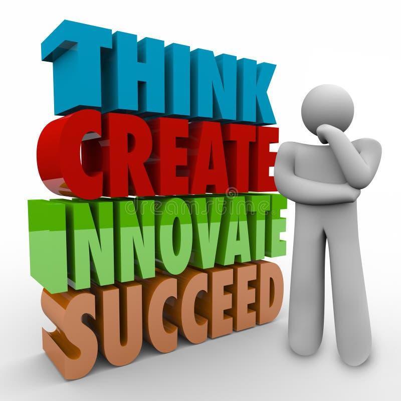 Pense criam inovam sucedem a pessoa do pensador das palavras 3d ilustração stock