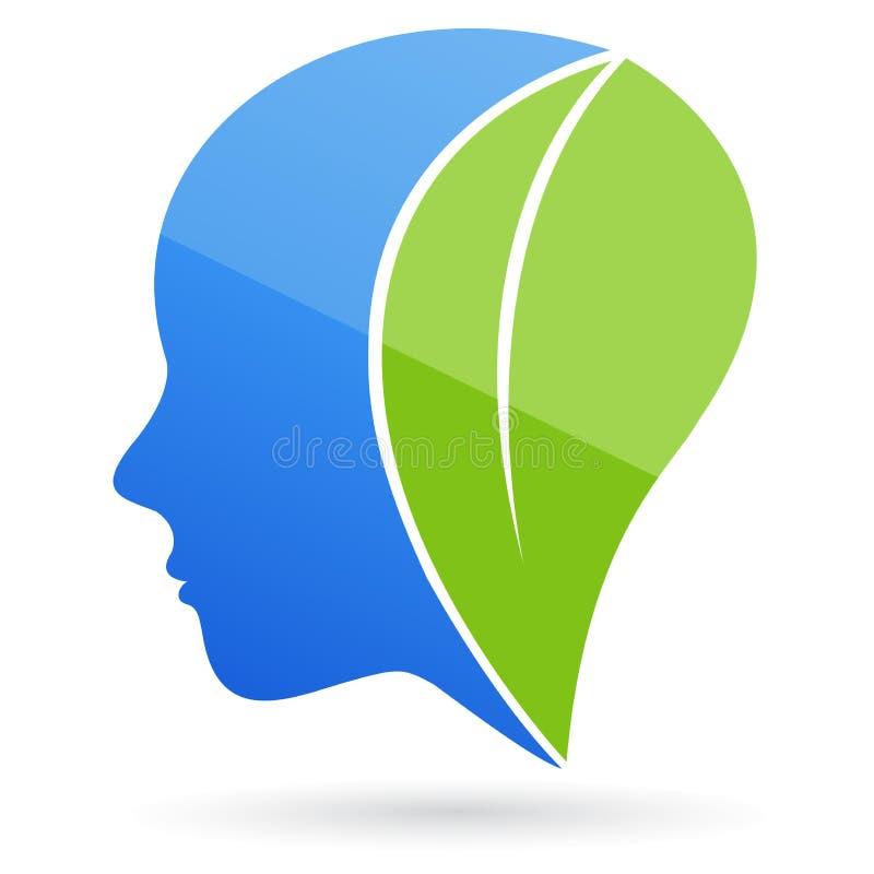 Pense a face verde ilustração do vetor