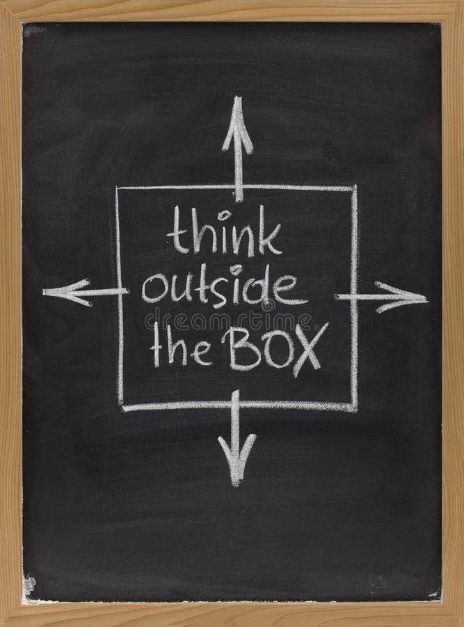 Pense fora da frase da caixa no quadro-negro imagem de stock royalty free