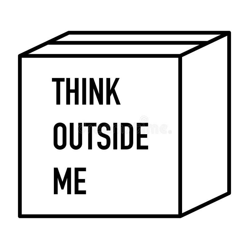 Pense fora da ideia muito criativa da caixa ilustração do vetor