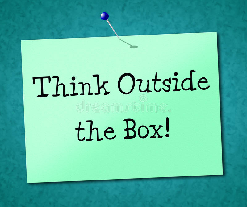 Pense fora da opinião e das ideias da originalidade das mostras da caixa ilustração royalty free