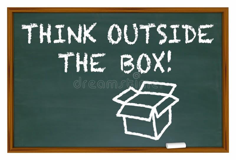 Pense fora das palavras da placa de giz da caixa ilustração do vetor