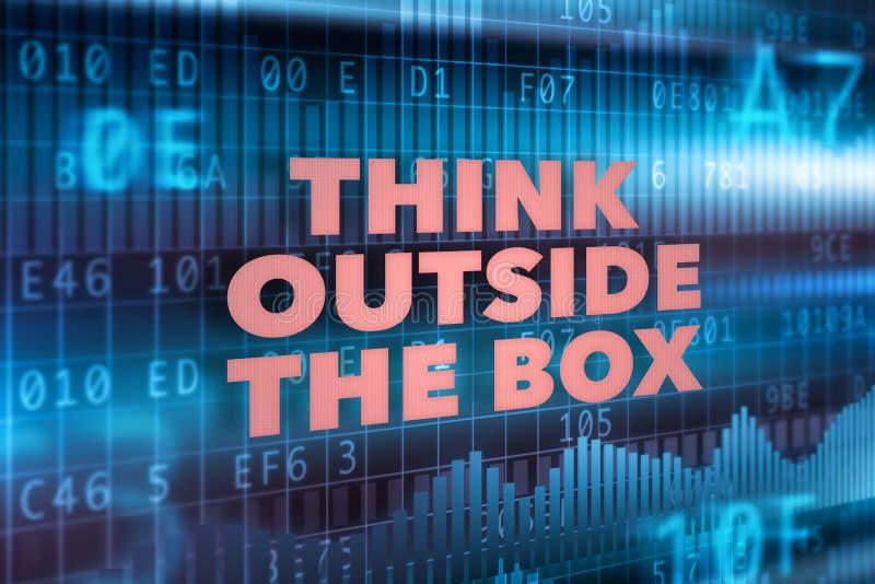 Pense fora do conceito da caixa ilustração do vetor