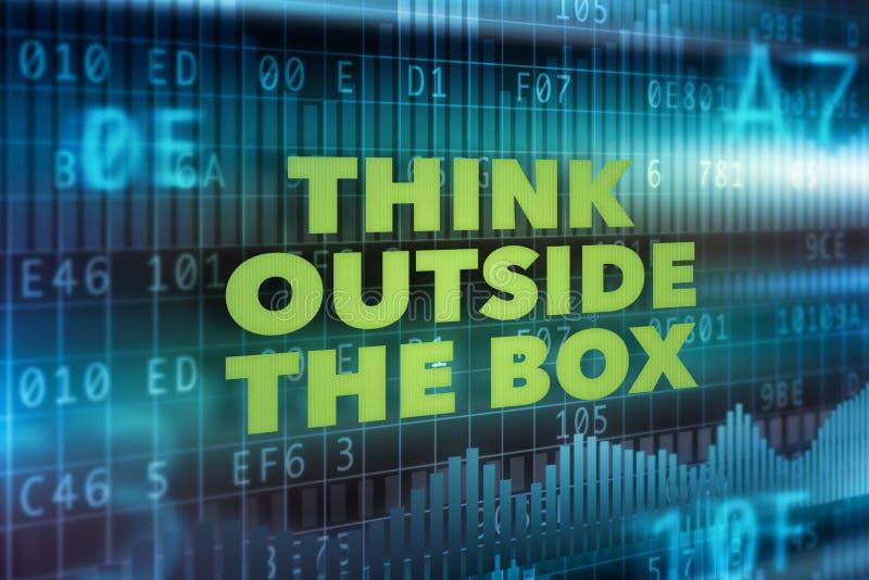 Pense fora do conceito da caixa ilustração stock
