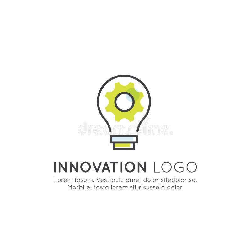 Pense fora do conceito da caixa, da imaginação, da colaboração esperta da solução, da faculdade criadora e da sessão de reflexão ilustração royalty free