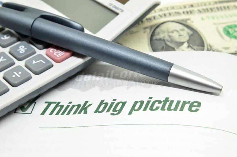 Pense a imagem grande imagem de stock