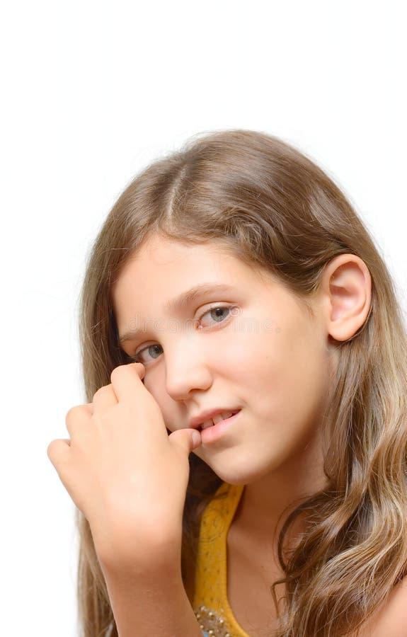 Pense a menina adolescente isolada no branco imagens de stock royalty free