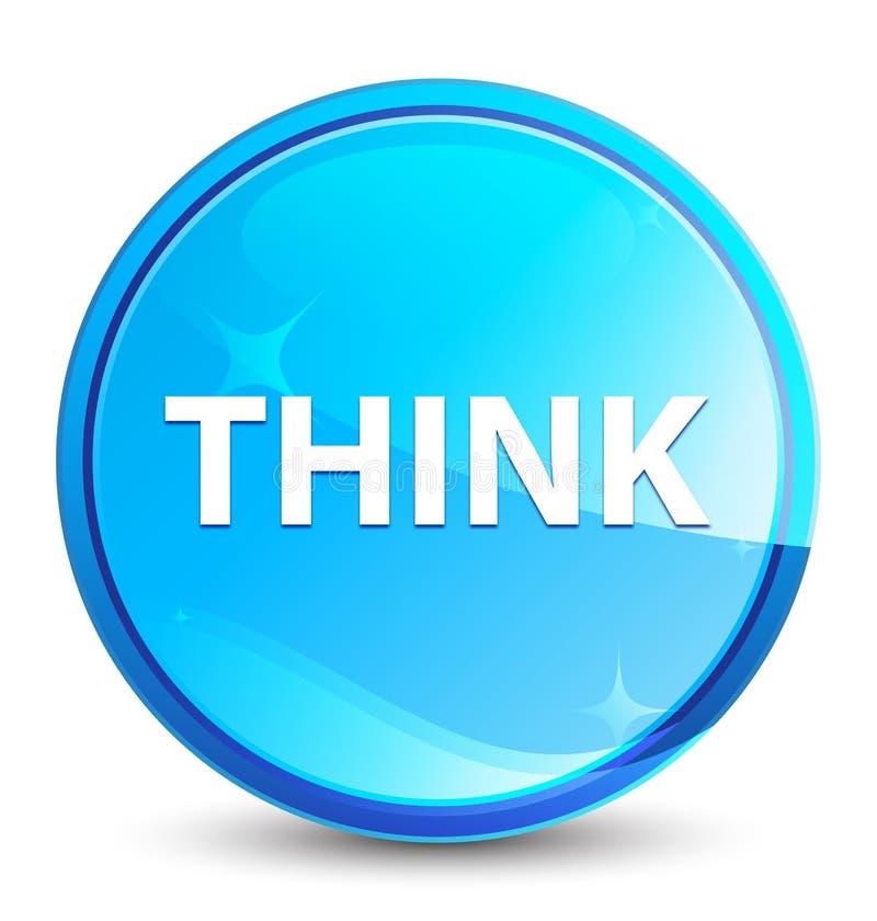Pense o botão redondo azul natural do respingo ilustração do vetor