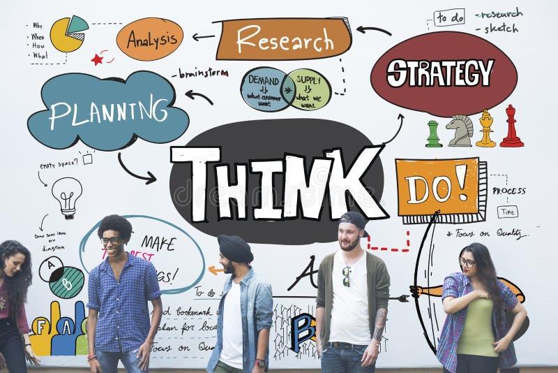 Pense o conceito de pensamento da mente do planeamento da determinação da ideia ilustração royalty free