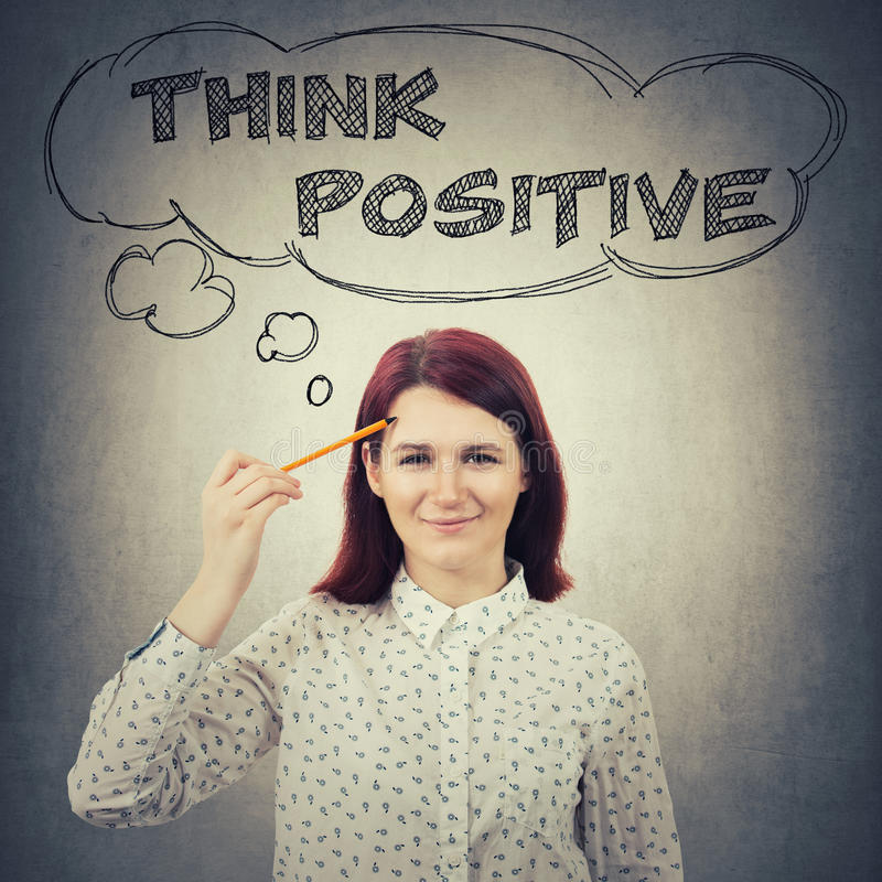 Pense o conceito positivo imagem de stock