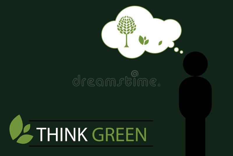 Pense o fundo verde 2 do conceito - vetor ilustração royalty free
