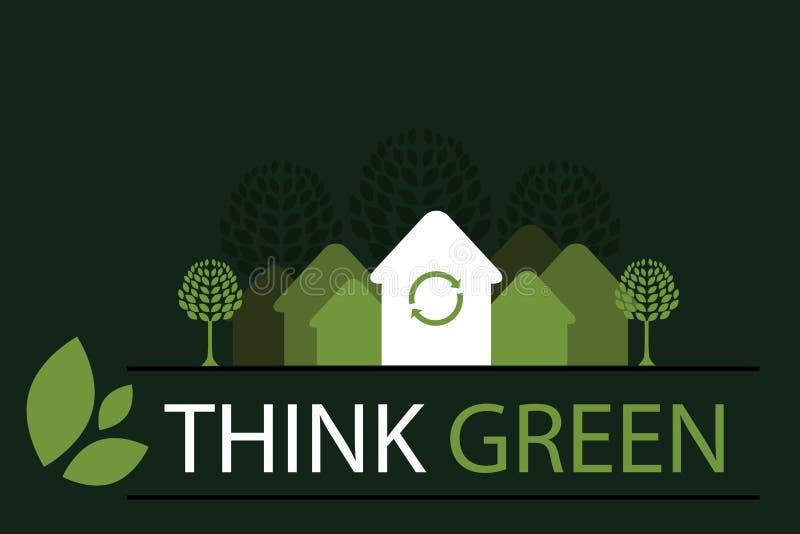 Pense o fundo verde 4 do conceito - vetor ilustração royalty free
