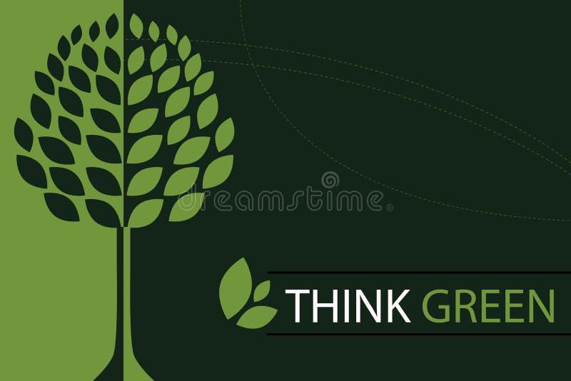 Pense o fundo verde do conceito - vetor ilustração royalty free