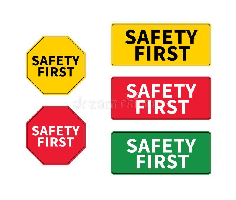Pense o logotipo da segurança em primeiro lugar, ícone, símbolo Sinal do eps do vetor Forma octogonal e retangular da segurança e ilustração stock