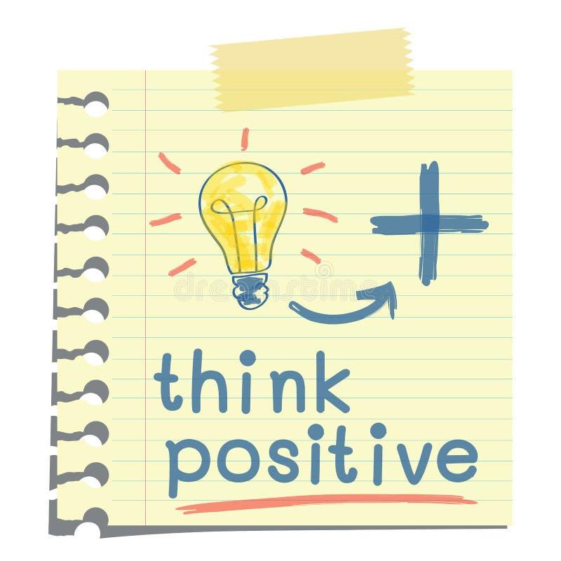 Pense o positivo ilustração stock