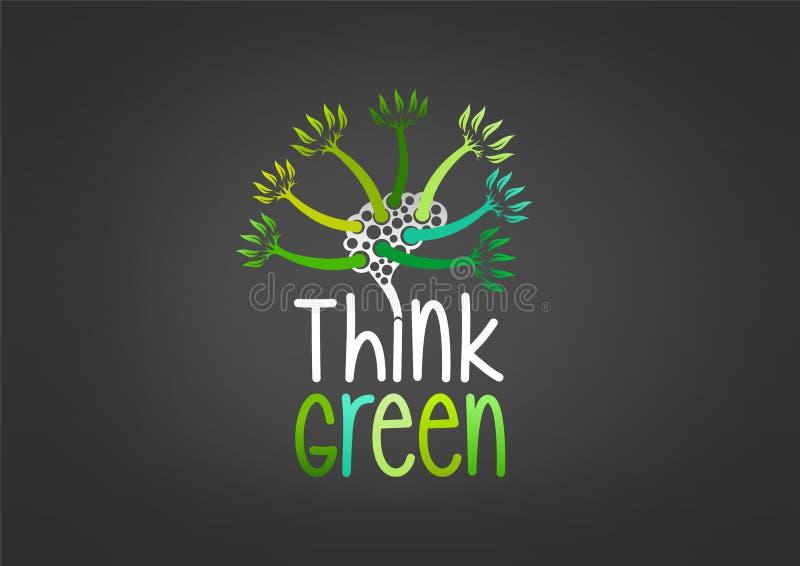Pense o projeto de conceito verde ilustração do vetor