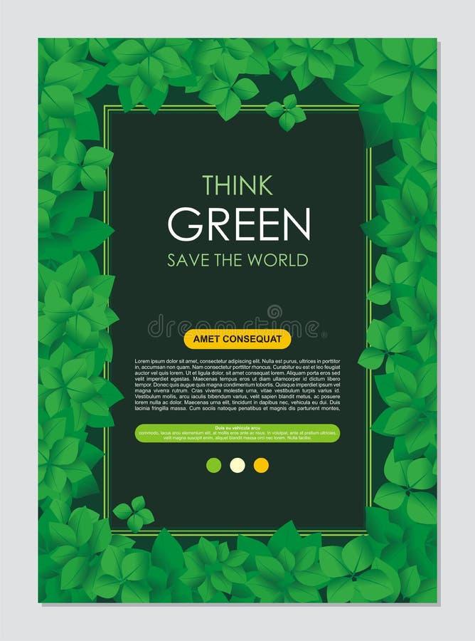 Pense o quadro e a beira verdes Vai o conceito verde das folhas ilustração stock