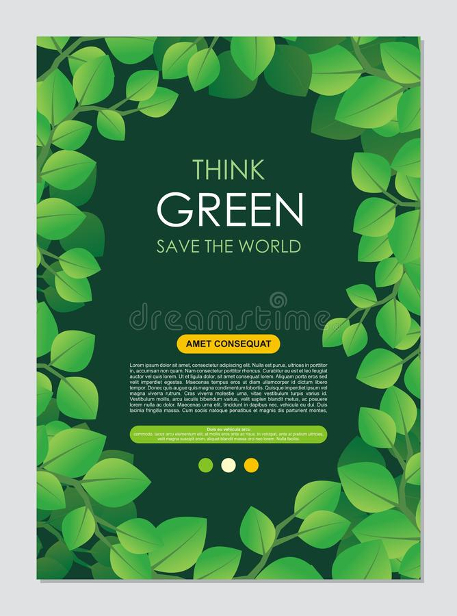 Pense o quadro e a beira verdes Vai o conceito verde das folhas ilustração do vetor