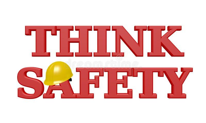 PENSE o texto da SEGURANÇA 3D - vermelho com capacete de segurança amarelo ilustração royalty free