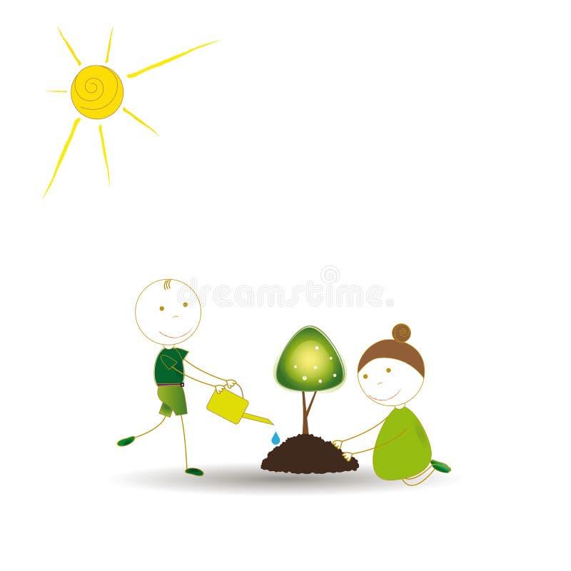 Pense o verde ilustração do vetor