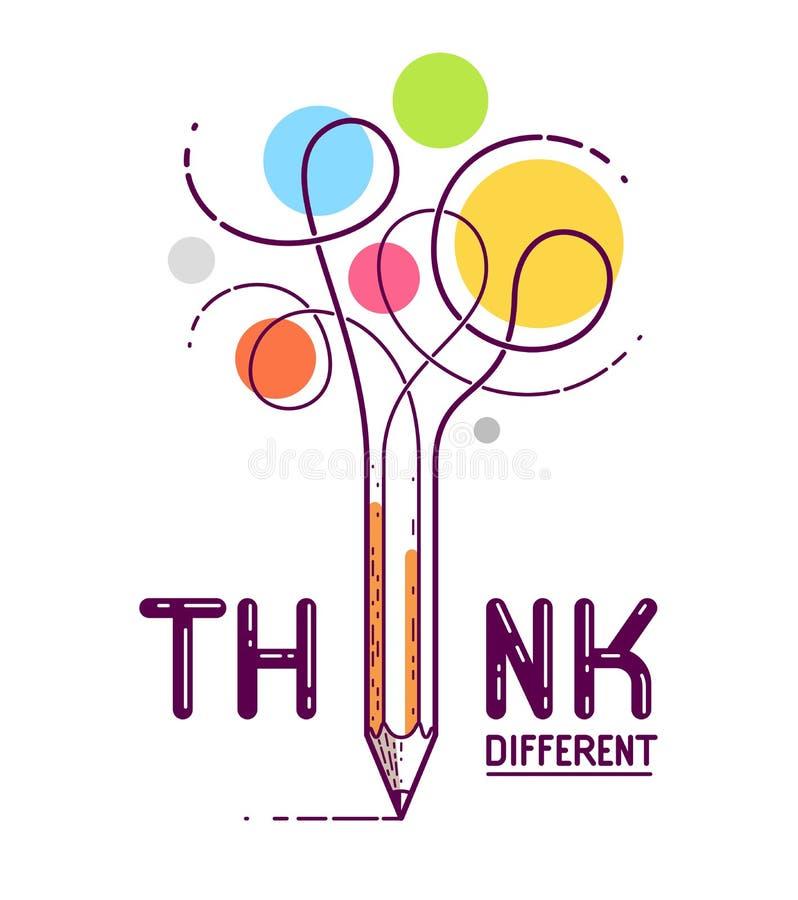 Pense a palavra diferente com o lápis em vez da letra I, as ideias e o conceito do clique, logotipo criativo conceptual do vetor  ilustração stock