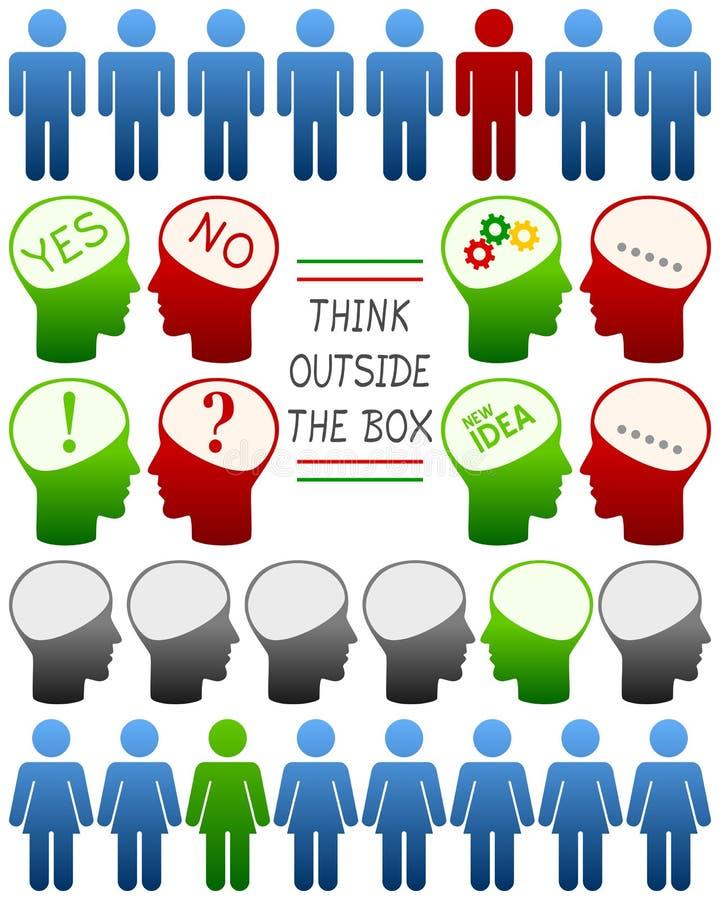 Pense que diferente pense o positivo ilustração stock