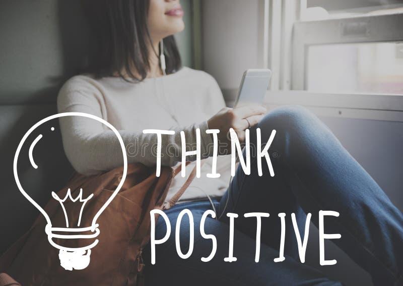 Pense que o otimismo da atitude positiva inspira o conceito foto de stock