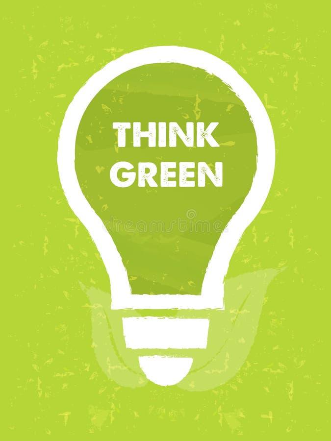 Pense que o verde no símbolo do bulbo com folha assina sobre a parte traseira verde do grunge ilustração stock