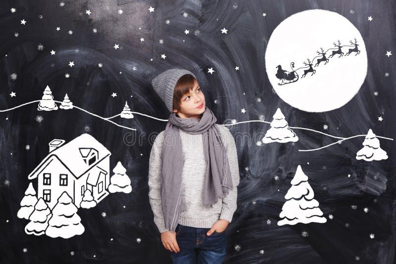 Pense sobre a noite de Natal ilustração royalty free