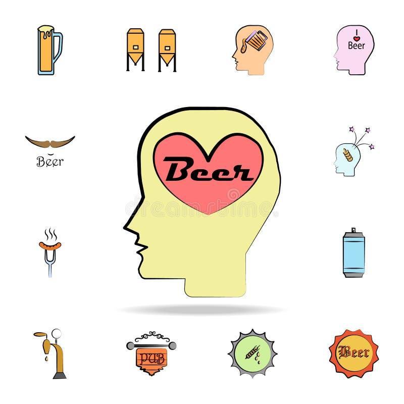 pense sobre o ícone colorido cerveja do estilo do esboço Grupo detalhado de ícones tirados do estilo da cerveja da cor à disposiç ilustração stock