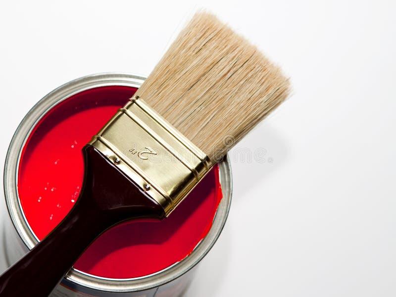 Penseel in rood royalty-vrije stock afbeelding