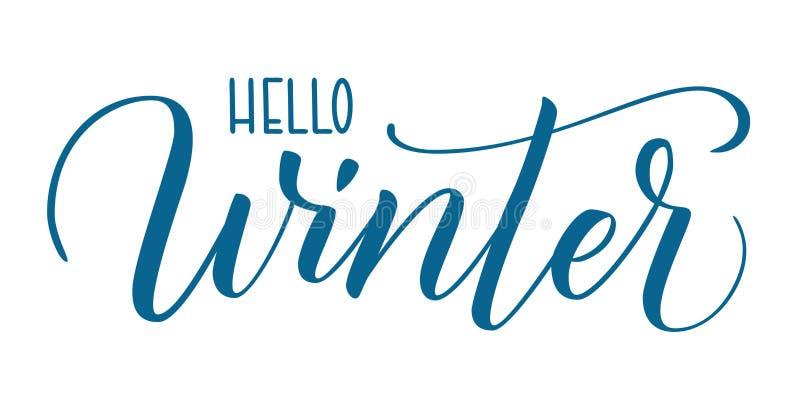 Penseelkalligrafie Hallo winter royalty-vrije illustratie
