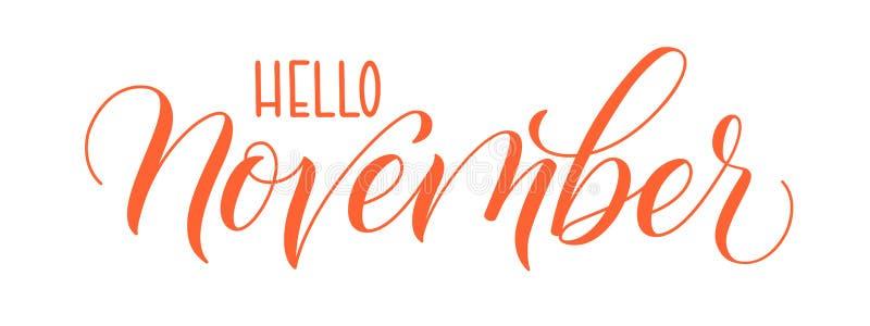 Penseelkalligrafie Hello November vector illustratie