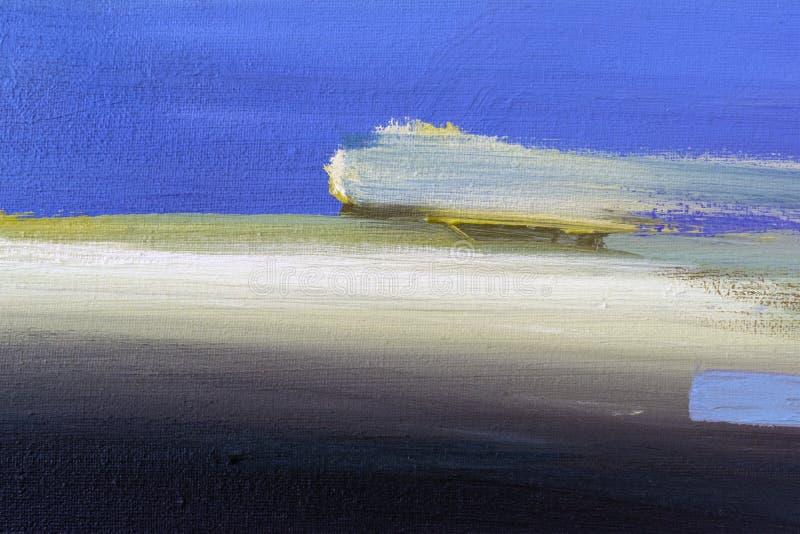 penseelstreken op abstractie van de canvas de blauwe beige zwarte kleur stock foto's
