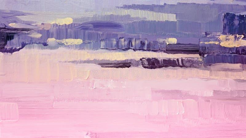 Penseldrag av rosa och purpurfärgad olje- målarfärg på kanfas abstrakt bakgrund arkivfoton