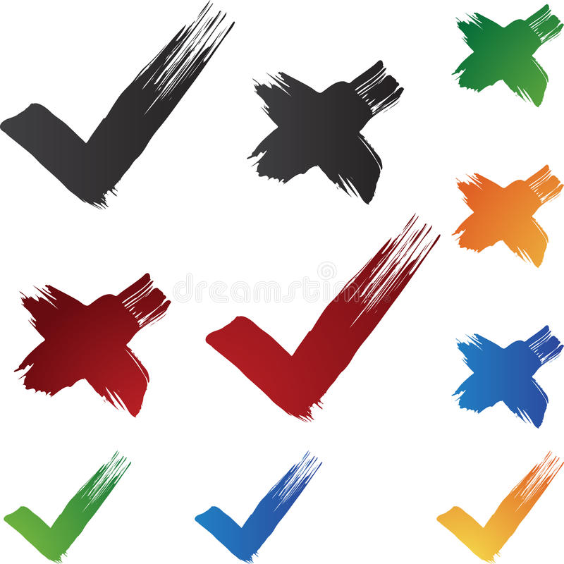 penseldragcheckmark stock illustrationer