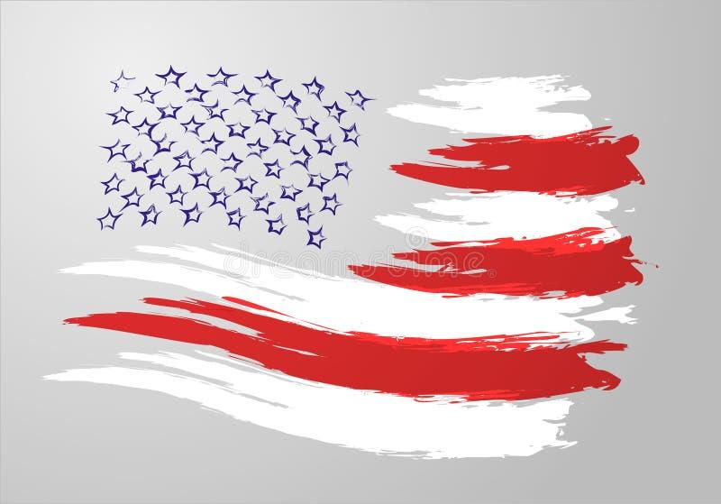 Penseldragflagga av Amerika royaltyfri illustrationer