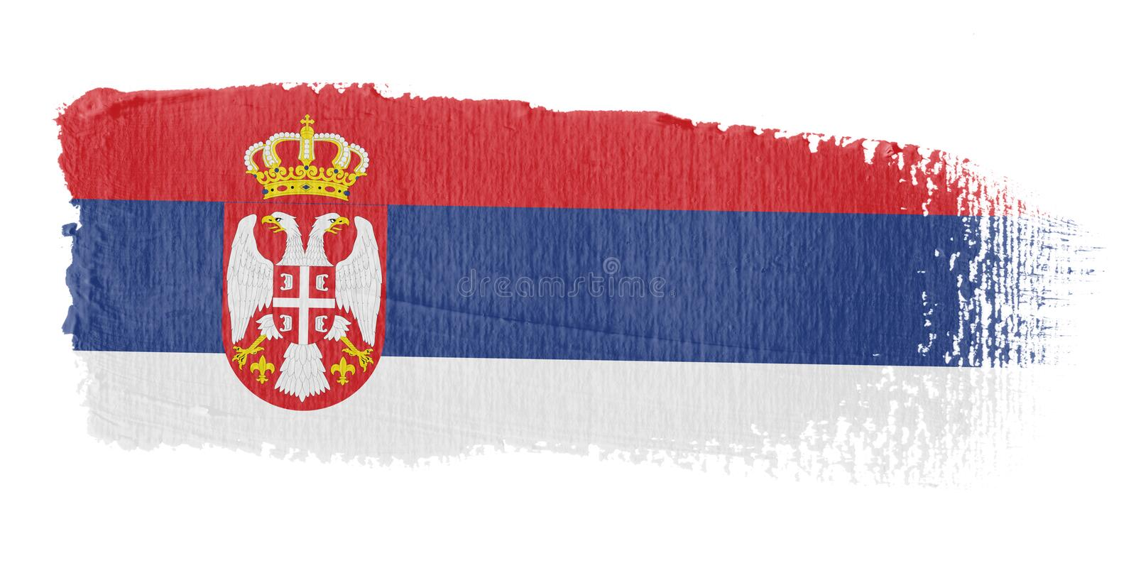 penseldragflagga serbia stock illustrationer