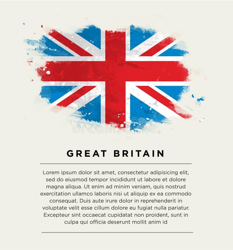 Penseldragflagga Storbritannien royaltyfri illustrationer