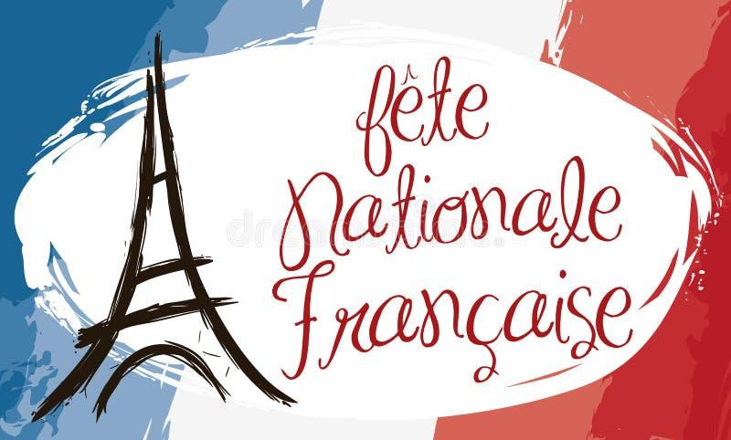 Penseldragstilbaner med den Frankrike flaggan och Eiffeltorn, vektorillustration vektor illustrationer