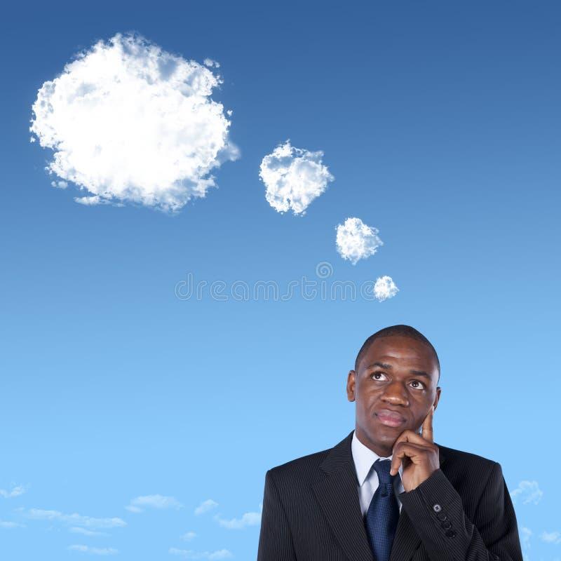 Penser africain d'homme d'affaires photos stock